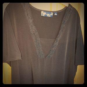 Susan Graver black lace shirt 2X